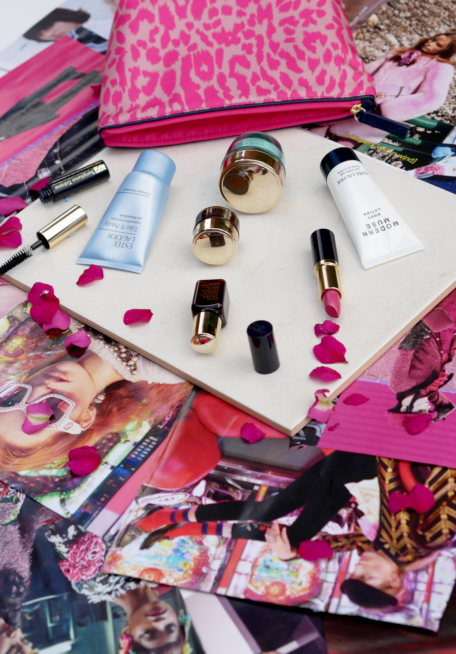 estee lauder, pink flat lay, beauty products, makeup, london fashion girl, laura blair
