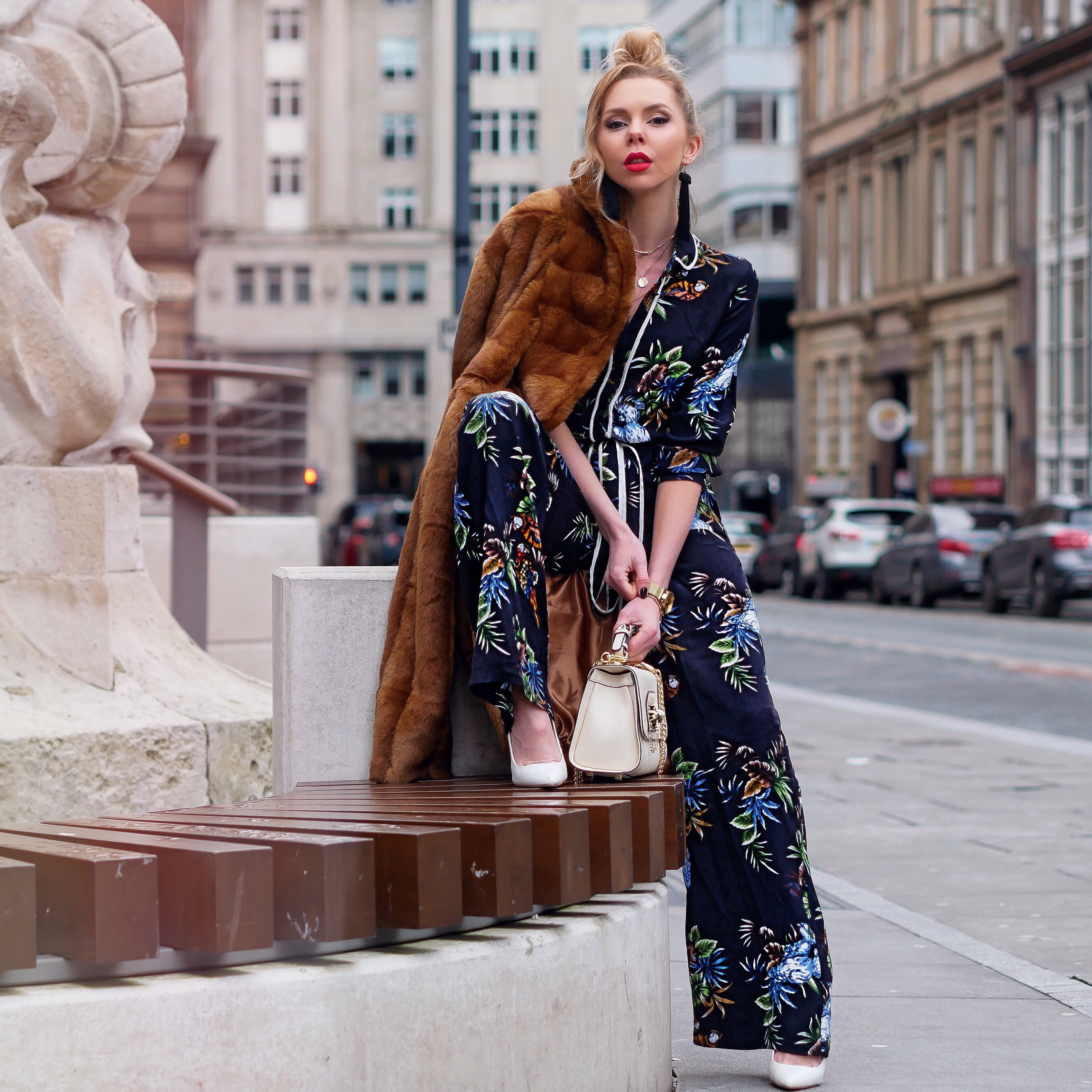 Laura Blair, London Fashion Girl, Tropical Trend, Flowers, Floral, Floral Jumpsuit, Zara, Street Stlye