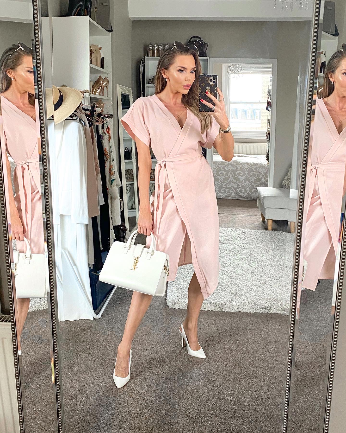LAURA BLAIR, PINK WRAP DRESS, BACK TO WORK, OFFICE WEAR, SUMMER WORK WEAR