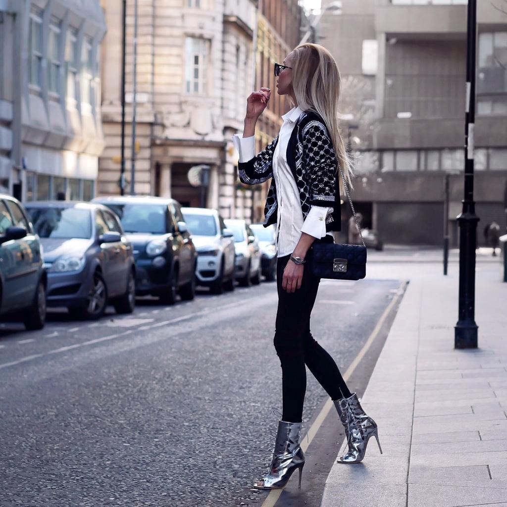 Laura Blair, London Fashion Girl, Balmain, designer dupe, sequin jacket, highstreet, affordable fashion, style, how to style, uk fashion blogger, public desire