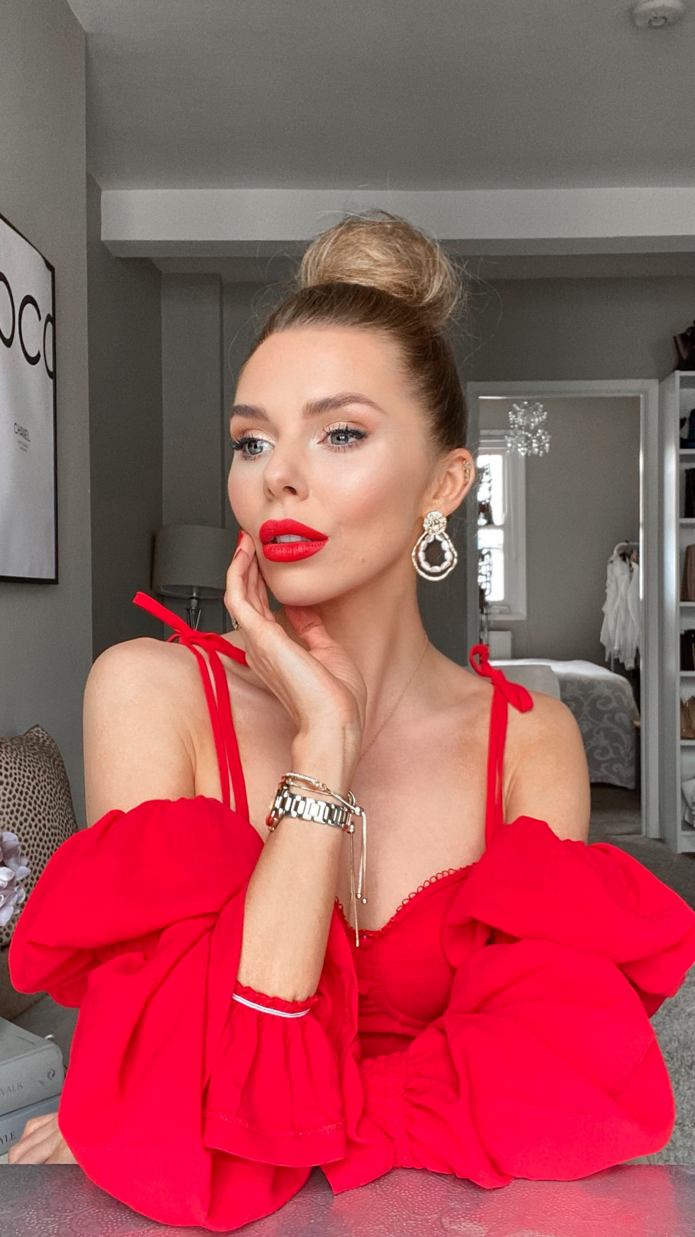 laura blair, red lip, maybelline, Maybelline Superstay Matte Ink, red lipstick, red bardot top, asos